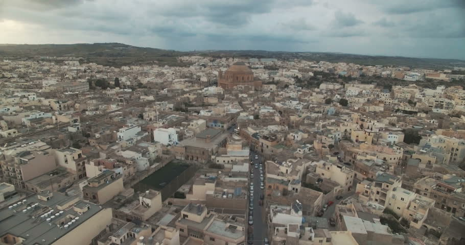 Aerial Shot of a small Village in Malta ( Europe )