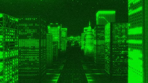3D city animation at night time. Scanline effect added.