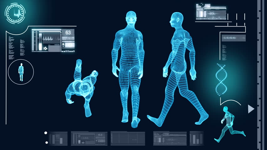 Digital motion graphic of a virtual walking male in 3D illustration for medical and scientific research data