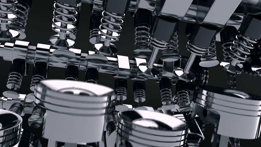 Close-up 3D animation of a working V8 engine. Pistons, camshaft, valves and other mechanical parts in motion. | Shutterstock HD Video #19178191