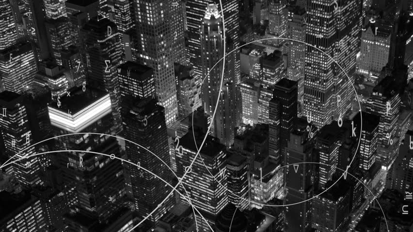 Data stream numbers floating over city symbolizing global business networking connection  | Shutterstock HD Video #19191394