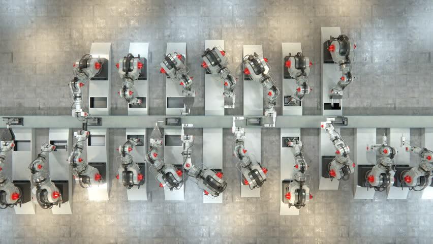 Robotic Arm Assembling 3d Printer On Conveyor Belt