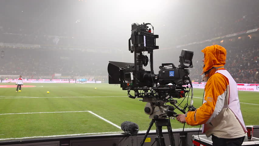 MILAN - JANUARY 15: Video camera for 3D sports and news broadcasting, Italian Series A league football match AC Milan vs FC Internazionale at the San Siro Stadium in Milan on January 15, 2012. Sequence.