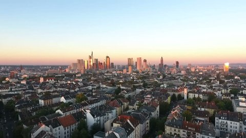 Cityscape and skyline of Frankfurt, Germany at dawn - view from Nordend to the financial and downtown district