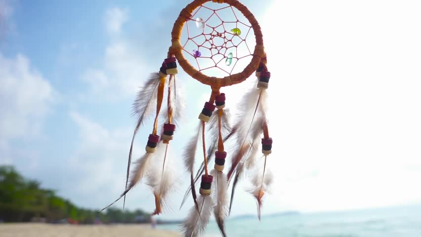 Dream catcher on the wind stock footage video 7029160 shutterstock dream catcher swinging at the wind on the beach slow motion hd stock footage voltagebd Images