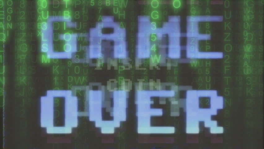 A videogame ending screen taped on VHS: Game over - Try again - Insert coin. 8-bit retro style. Mixed with code rain (random computer symbols falling down, a popular sci-fi movie effect).