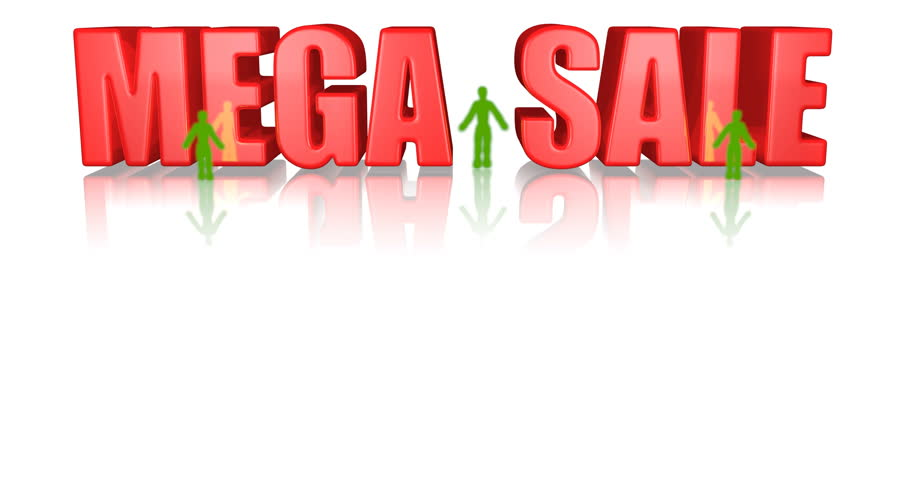 Mega sale shiny red 3d animation with green jumping characters 3d animation, 3d render