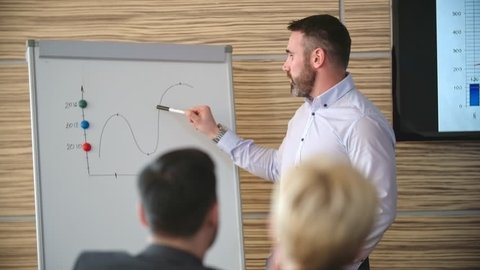 Businessman showing line graph on flip chart and talking to his colleagues in training class