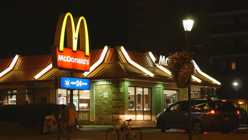 TORONTO, CANADA on Aug 21st 2016: Mcdonalds at night in Toronto, Canada on Aug 21st, 2016. McDonalds is the world's largest chain of hamburger restaurants, serving around 68 million customers daily.