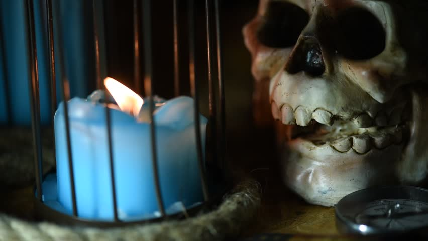 Halloween party, Candle and skull for decoration