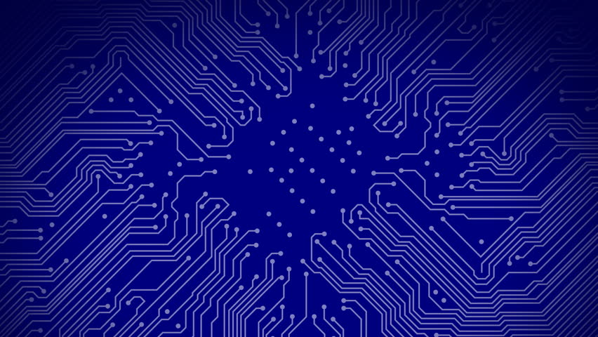 Stock Video Clip of A blue circuit board with electricity flowing ...