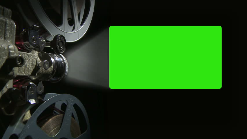 Film projector with 16 x 9 aspect ratio chroma key green screen