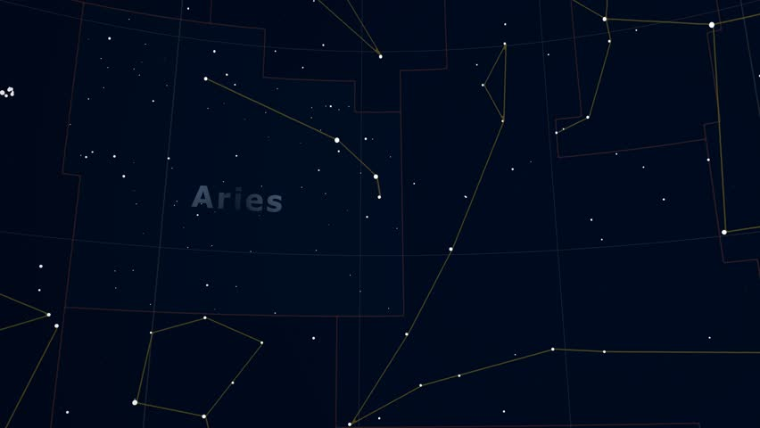 Constellation of Aries. Bright stars (up to 6.5M) - vector shapes. Constellation figures and boundaries. Equator, ecliptic and galactic equator reference lines #19406941