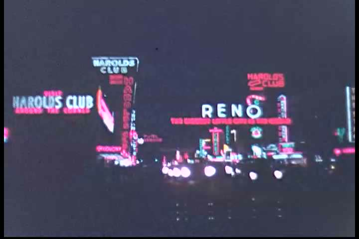 Nighttime scenes of Virginia Street, the Reno Arch, Harold\xCDs Club, and the Nevada Club, in Reno, Nevada. (1950s) | Shutterstock HD Video #19431634