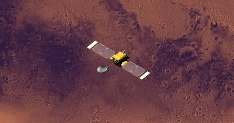 Top view of Surveyor spacecraft above Mars at 111 degrees longitude. Elements of this image furnished by NASA