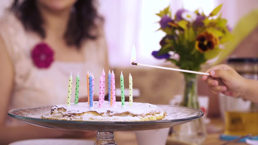 Few Hands Lighting Long Matches Candles Birthday Homemade Pie