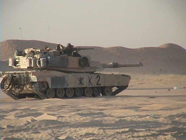 IRAQ - CIRCA 4/22/03: M1 Tanks firing their main guns.