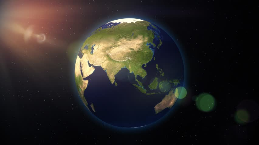 Sattelite Map Of World.Earth From Space Turning Spinning Stock Footage Video 100 Royalty