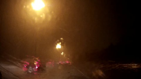 Waterloo, Ontario, Canada September 2016 Epic POV driving in extreme  heavy rain at night on highway