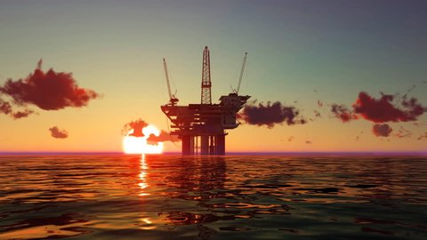 Oil platform in the sea at sunrise. Three dimensional rendering animation.