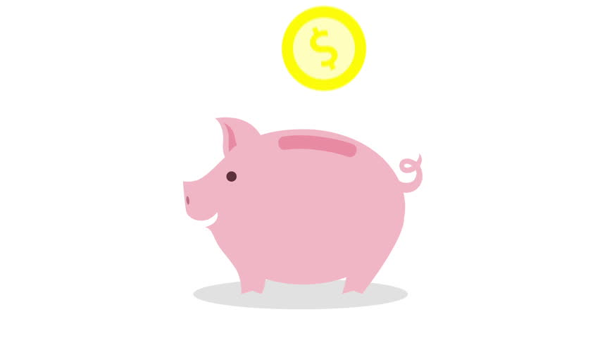 money coin enter inside piggy bank flat designe animation, with alpha channel