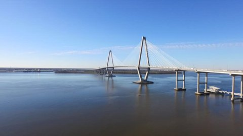 Ravenel Bridge Aerial Drone Video Charleston South Carolina