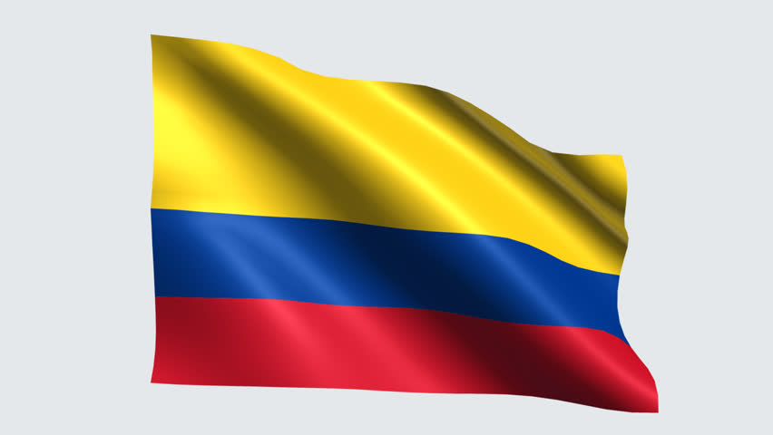 Colombia Flag With Transparent Background Stock Footage Video 100