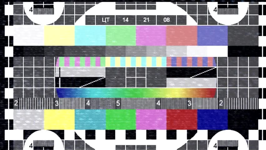 Test pattern TV. Glitch and flickering TV signal