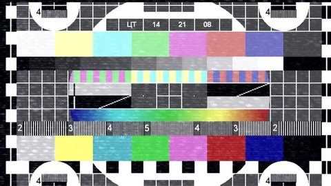 Test pattern TV. Glitch and flickering TV signal