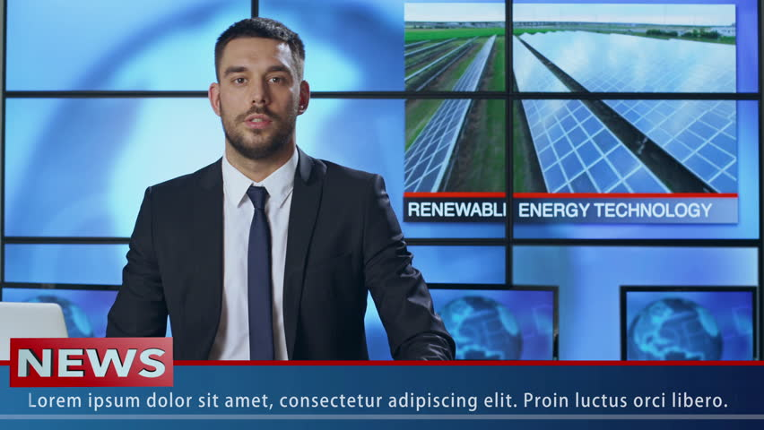 Male News Presenter Speaking About Renewable Energy. Shot on RED Cinema Camera in 4K (UHD). | Shutterstock HD Video #19726561