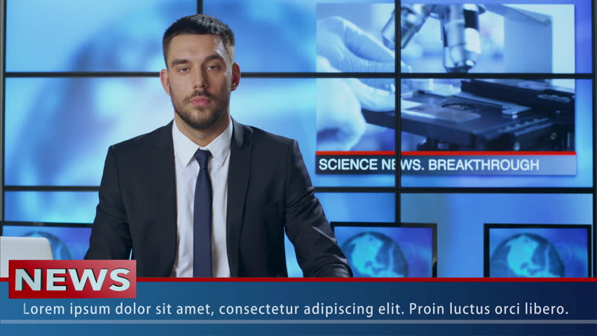 Male News Presenter Speaking About Science and Medical Researches. Shot on RED Cinema Camera in 4K (UHD).