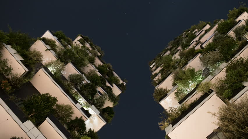 Milan, Italy - August 2016: Bosco Verticale or Vertical Forest is the Best tall building worldwide. Is composed of two residential towers with a large variety of trees and plants on the balconies.