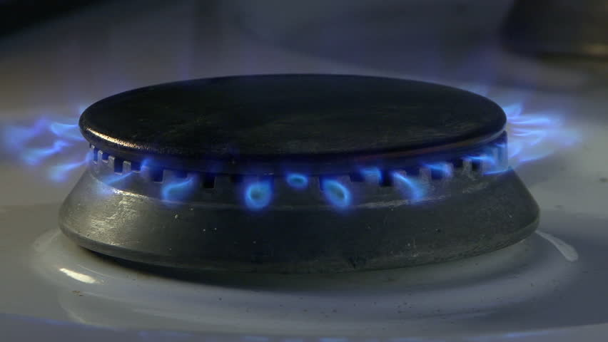 Gas flames in the stove