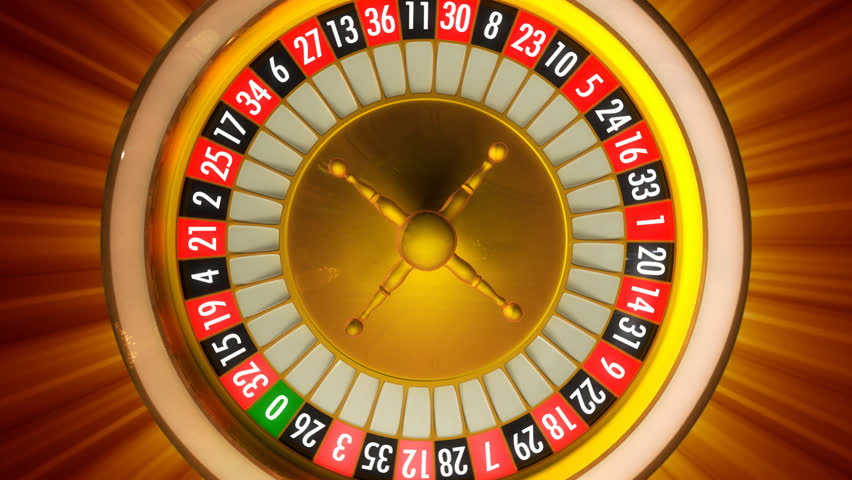 3D animation of casino roulette with rays. Whole 360 rotation loopable.