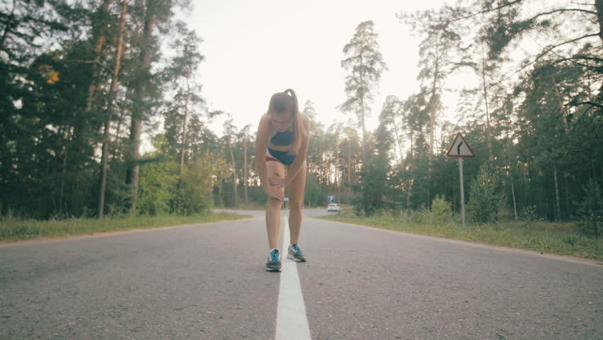 Woman running in park exercising outdoors. Healthy lifestyle. #19814731
