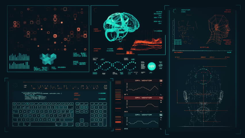 Ultra high resolution footage of cyan futuristic interface. Digital background. Blinking and switching indicators and statuses showing brain scanning process or human health.UHD,HD,1080p.