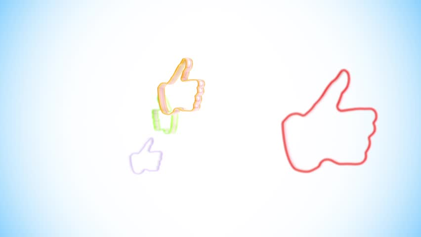 "Zoom to the colorful approving ""Like"" symbols"