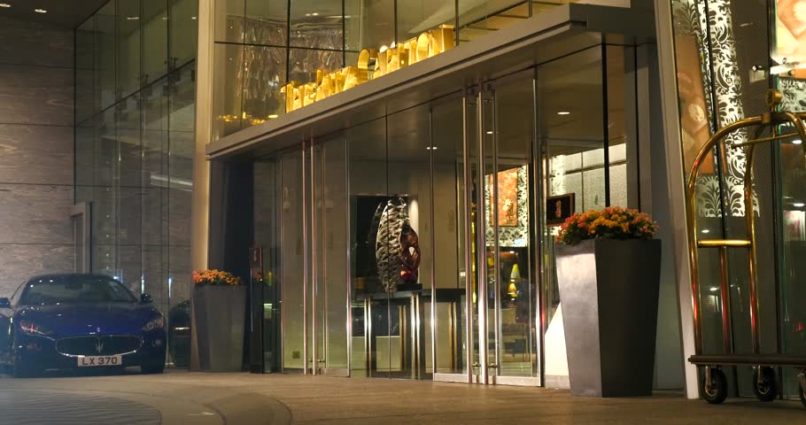 HONG KONG, CHINA - CIRCA NOVEMBER, 2015: The Ritz Carlton Hotel entrance. Ritz Carlton operates 81 luxury hotels and resorts in major cities and resorts in 26 countries worldwide.