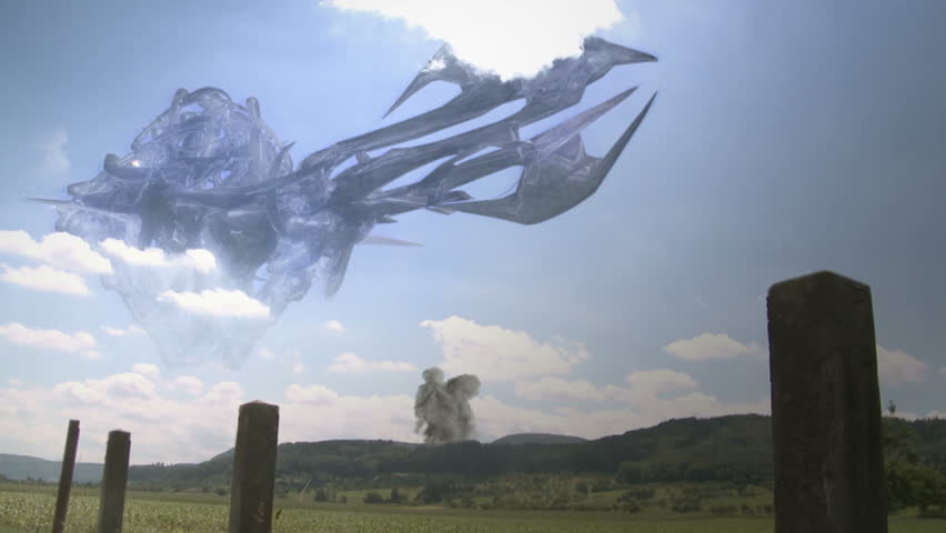 Helicopters attacking alien spaceship