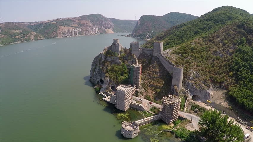 Two Angles Shot: Flight Over Old Fortress On The Beautiful Danube ...