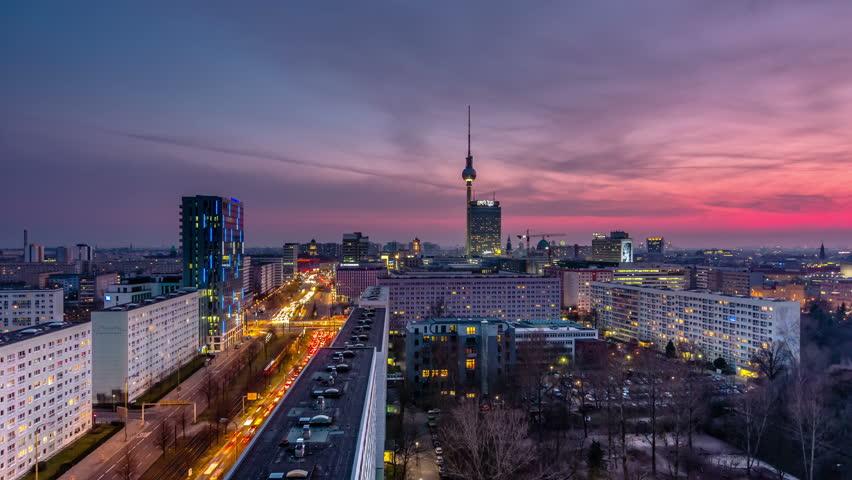 Berlin Skyline City Timelapse with Traffic on Street at evening near Alexanderplatz.