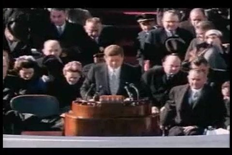 President John F. Kennedy begins his inauguration speech at the United States Capitol on January 20th, 1961. (1960s)