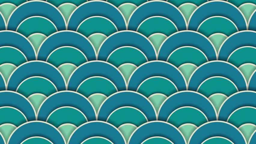 Asia waves pattern with shadow. Circle appears Geometric hipster animation, retro pattern of geometric shapes. Colorful-mosaic banner. Paper art 2d design. | Shutterstock HD Video #19996141