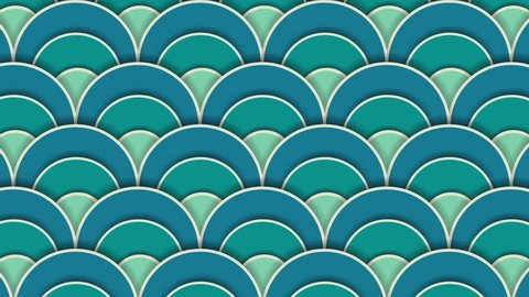 Asia waves pattern with shadow. Circle appears Geometric hipster animation, retro pattern of geometric shapes. Colorful-mosaic banner. Paper art 2d design.
