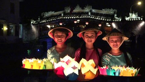Quang Nam, Vietnam - 2015: Hoi An ancient town viewing from Thu Bon river by twilight period. Hoi An is UNESCO world heritage, one of the most popular destinations in Vietnam
