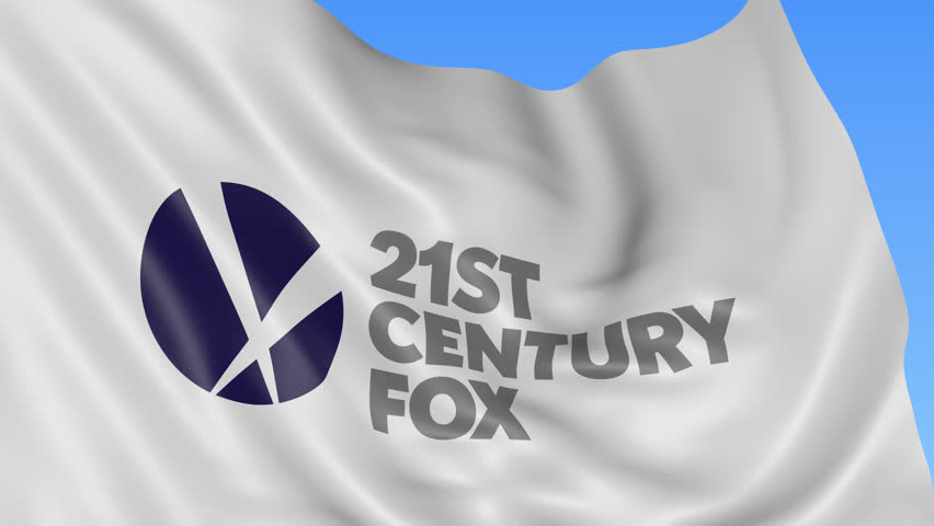 Editorial animation: Close up of waving flag with 21st Century Fox logo, seamless loop, blue background. 4K ProRes, alpha