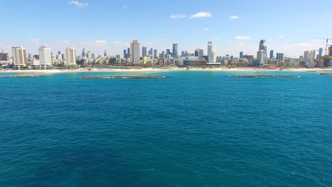 Tel Aviv skyline - Aerial footage over the mediterranean sea