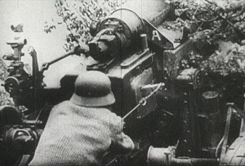 EUROPE - CIRCA 1942-1944: World War II, Close-Up of Big Guns Destroying France