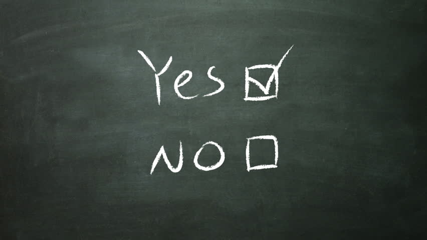 the blackboard of yes or no decision making for visual presentation