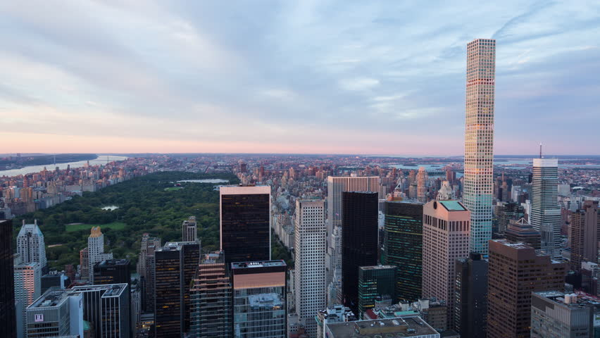New York City, New York, United-States - September 21st  2016 - Central Park and 432 Park Avenue Day To Night Sunset Timelapse Manhattan